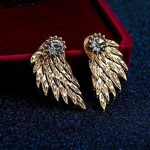 Gold Tone Angel wing earrings